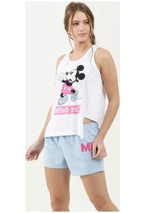 Pijama Feminino Estampa Mickey Sem Manga Disney