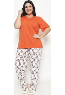 Pijama Manga Curta & Calã§A Floral- Laranja & Brancosonhart