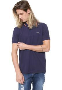 Camisa Polo Coca-Cola Jeans Reta Listras Azul-Marinho