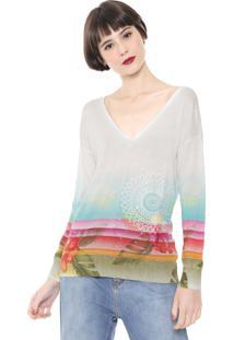 Suéter Desigual Tricot Paetês Off-White