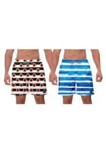 Kit 2 Shorts Moda Praia Girassol Listras Azuis Estampado Masculino Esporte Academia Surf Ajustável Banho W2