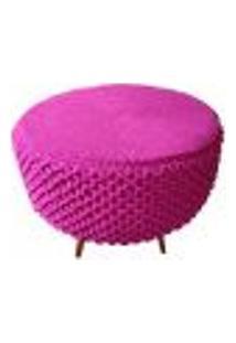 Puff De Crochê Escamas Rosa
