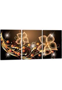 Quadro Oppen House 60X120Cm Canvas Sala Flores Digitais Decorativo Interiores