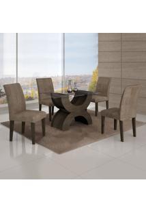 Conjunto Mesa Olimpia New 1,20X0,80M 4 Cadeiras Animale Capuccino - 7338.30.7.15 Leifer