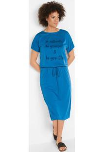 Vestido Longuete Estampa Frontal Azul