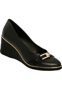 Sapato Anabela Com Tira & Aviamentos - Preto & Dourado