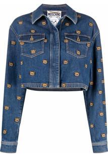 Moschino Jaqueta Jeans Com Bordado Teddy Bear - Azul