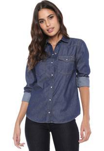 Camisa Jeans Lez A Lez Pespontos Azul