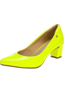 Scarpin Domidona Neon Fluorescente Salto Grosso Amarelo