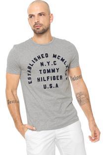 Camiseta Tommy Hilfiger Estampada Cinza