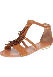 Rasteira Dafiti Shoes Gladiadora Franjas Caramelo
