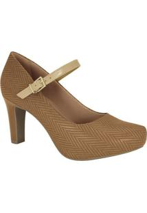 Sapato Tradicional Com Fivela- Bege- Salto: 7Cmramarim