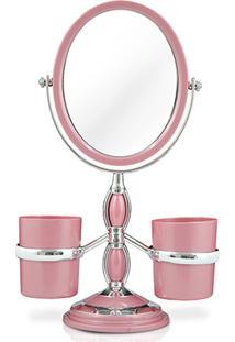 Espelho De Bancada C/ Suportes Laterais Jacki Design - Feminino-Rosa