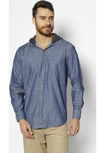 Camisa Jeans Com Capuz- Azul & Cinza Escuro- Heringhering
