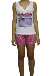 Pijama Short Doll Verão Curto Victory Feminino - Feminino-Vermelho