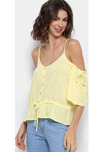 Blusa Open Shoulder Holin Stone Feminina - Feminino-Amarelo