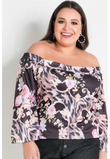 Blusa Floral Com Mangas Em Babados Plus Size