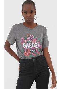 Camiseta Colcci Floral Grafite - Grafite - Feminino - Viscose - Dafiti