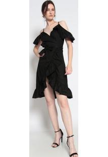 Vestido Com Babado & Franzidos- Preto- Le Fixle Fix