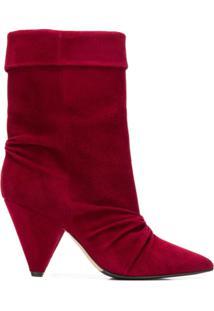 The Seller Ankle Boot De Couro - Vermelho