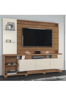 Estante Para Tv Até 65 Polegadas Dallas 3 Portas Flex Natura Off White/3D Canelato Rústico - Atualle Móveis