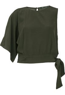 Blusa Maria Filó Assimétrica Amarração Verde