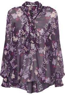 Camisa Feminina Malik Floral - Roxo