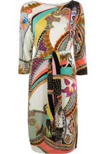 Etro Paisley-Print Tie-Waist Dress0 - Neutro
