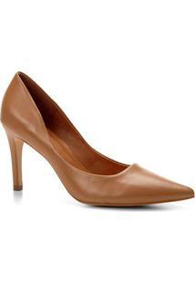 Scarpin Couro Shoestock Salto Alto Bico Fino - Feminino-Caramelo