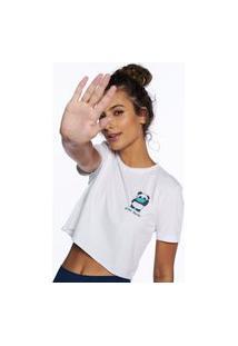 Camiseta Pina Colada Cropped Pandinha Quarentena Stay Away Branco