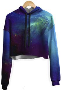 Blusa Cropped Moletom Feminina Galaxia Nebulosa Md04 - Preto - Feminino - Poliã©Ster - Dafiti