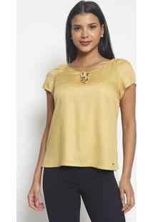 Blusa Texturizada Com Aviamentos-Amarela-Vip Reservavip Reserva