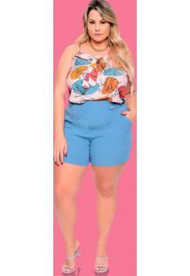 Blusa Almaria Plus Size Plump Alça Estampada Rosa