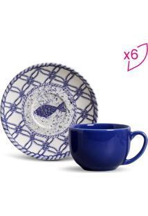 Jogo De Xícaras De Chá Coup- Off White & Azul Claro-Porto Brasil