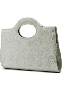 Bolsa De Mão De Festa Hendy Bag Glitter Feminina - Feminino-Prata