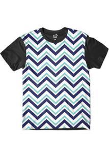 Camiseta Long Beach Náutica Listras Pontudas Sublimada Masculina - Masculino-Azul+Branco