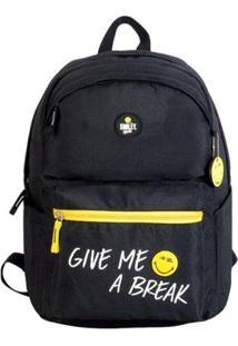 Mochila Smiley Gosuper Give Me A Break Casual Com Porta Notebook Escolar Universitaria - Masculino-Preto