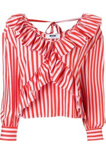 Msgm Striped Ruffle Blouse - Laranja