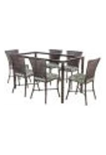 Jogo De Jantar 6 Cadeiras Turquia Pedra Ferro A28 E 1 Mesa Retangular Sem Tampo Ideal Para Área Externa Coberta