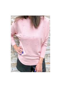 Blusa Tricot Bordado Pérola E Cristal Rosa
