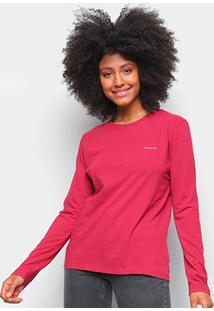 Blusa Calvin Klein Logo Manga Longa Feminina - Feminino-Vermelho Escuro