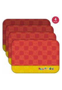 Jogo Americano Turma Patati Patatá Vermelho - Produto Licenciado Kit Com 4 Pçs