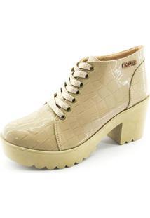 Bota Coturno Quality Shoes Feminina Verniz Croco Nude 39