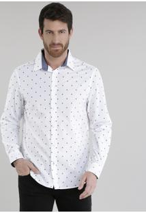 Camisa Comfort Estampada De Coqueiros Branca