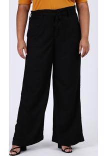 Calça Feminina Plus Size Pantalona Cintura Alta Com Faixa Para Amarrar Preta