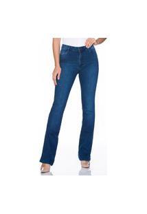 Calça Bootcut Jeans Lúcia Figueredo Cintura Alta Azul