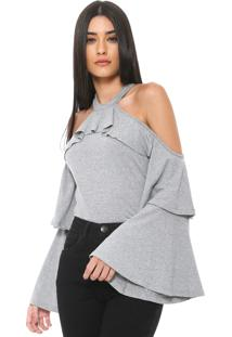 Blusa Nolita Off Shoulders Cinza