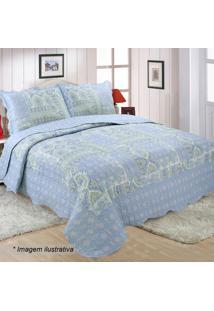 Conjunto De Colcha Patchwork Yudi Queen Size- Azul Clarosultan