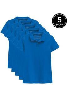 Kit 5 Camisas Polo Basicamente Feminino - Feminino-Azul Claro
