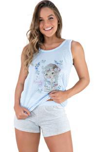 Pijama Mvb Modas Adulto Curto Estampado Shortdoll Cinza Azul - Kanui